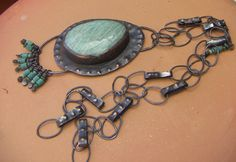 Natural Amazonite Copper Necklace Pendant with Small by annamei