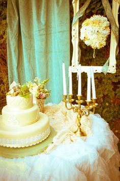 Garden wedding... hang draperies from trees, here we used bamboo sticks to hang them and curtain rings!