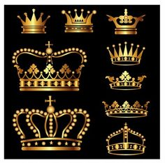 Gold Crown Set,  Free Adobe Illustrator ai ( .AI ), Encapsulated PostScript eps ( .EPS )