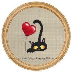 Cross Stitch Pattern PDF cat and balloon por HappyStitches4You