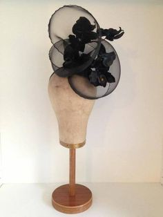 Black Wired Crinoline Headpiece with Phalaenopsis Orchids by Murley & Co Millinery #HatAcademy #millinery