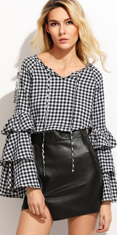 2a885f0713035 Black Gingham Tie Neck Layered Sleeve Blouse Fashion Spring