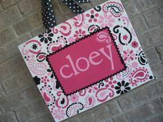 Personalized paisley nursery canvas decor.