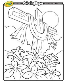 Matthew 26:36-28:10; John 18:1-20:18: Jesus' Crucifixion & Resurrection; Easter Cross Coloring Page