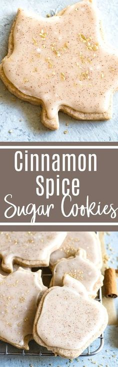 Cinnamon Spice Sugar Cookies - these soft and buttery sugar cookies are loaded up cinnamon and spice plus they're topped with cinnamon icing for even more flavor! Perfect for Fall : houseofyumm Buttery Sugar Cookies, Cinnamon Sugar Cookies, Yummy Cookies, Yummy Treats, Sweet Treats, Cinnamon Spice, Cake Cookies, Fall Baking, Holiday Baking