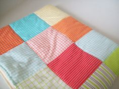 Patchwork baby blanket/ bright colors/ unisex by A1HomespunDesign