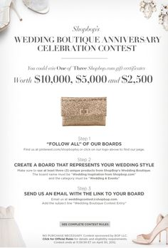 Are you #PinIt to Win It? You could win $10,000 in Shopbop gift cards! Complete details: http://www.shopbop.com/ci/3/lp/weddingcontest.html