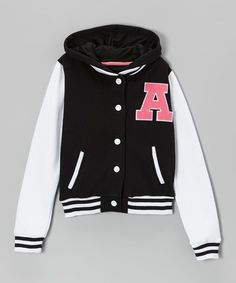 Look at this Black Hooded Letterman Jacket - Girls by Cutie Patootie Sport Fashion, Girl Fashion, Fashion Outfits, Fashion Ideas, Girls Bomber Jacket, Revival Clothing, Good Color Combinations, Football Outfits, Cute Jackets
