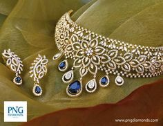 Jewellery Designs: Sapphires Diamond Floral Choker