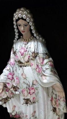 Nossa Senhora das Graças - 35 cm - Floral - Vintage Pequeno