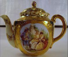 19th Century Antique Royal Vienna portrait cobalt blue gilt teapot