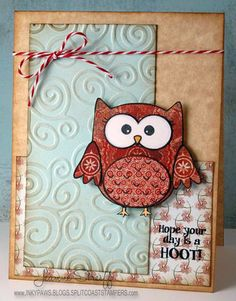 Supplies:    Stamps : @Sweet n' Sassy Stamps (Owl Be There)  Papers: @DiscountCardstock.com   Patterned papers: @Basic Grey  Ink: @Clearsnap  Embossing: 656225 @Sizzix Texture Boutique Embossing Machine(656645 Burlap & Swirls Texture Fades)  @Jeanne Streiff