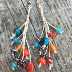 Turquoise and Red hemp earrings. Boho style hemp earrings. Natural and great for summer!    www.wildcottonjewelry.etsy.com