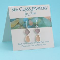 Soft, romantic colors of sea glass, sun darkened peachy pink and lavender sea glass earrings, a color combination of two rare hues!