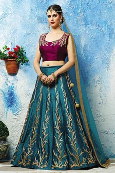 Stylish magenta & rama blue lehenga