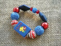 Red, White and Blue Mahjong Tile Bracelet - Jesse James Beads Jewelry - Mahjong Jewelry by MahjongJewelry on Etsy