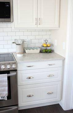 Kitchen Makeover with White Ikea Kitchen Cabinets, Subway Tile Backsplash and…