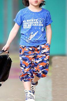 $10.16 Stylish Camo Print Short Sleeve T-Shirt + Cropped Pants Twinset For Boys