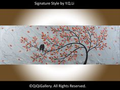Birds Art Abstract Painting Birds tree Painting Impasto Metallic Silver Acrylic Painting large Canvas art by QIQIGALLERY on Etsy, $185.00