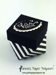 jpp - black and white diamond boxes / Diamant Schachtel / Verpackung / treat / goodie / Streifen / monochrom / Gastgeschenk / Stampin' Up! Berlin Designerpapier Neutralfarben / Giftbag Punch Board / Falzbrett für Geschenktüten / Geburtstagsblumen / Birthday Blooms www.janinaspaperpotpourri.de