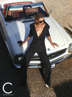 Kelly Rohrbach wears Monse pinstriped pantsuit with Michael Kors sunglasses and Jimmy Choo heels for C Magazine May 2017 Editorial Shoot, Editorial Photography, Editorial Fashion, Fashion Photography, Photography Women, Film Photography, Photography Ideas, Fashion Shoot, Fashion Models