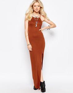 Imagen 1 de Vestido estilo camisola con abertura hasta el muslo de Glamorous