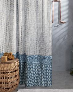 Meant to coordinate with our Blue Moon Quilt, this shower curtain features botanical-inspired prints in a soothing color palette to create a complete experience of serenity from your bed to the bath.