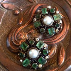 Art Deco Austrian silver emerald and pearls clip earrings (non-pierced) at The Antique Guild of Alex, Va.