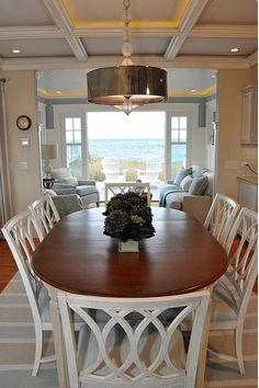 Coastal beach house dining room: it's always nice to add a little bling to any coastal decor. Source by stephbbyxo Coastal beach house dining room: it's always nice to add a little bling … Dining Room Design, Dining Room Furniture, Dining Room Table, Dining Area, Small Dining, House Furniture, Room Chairs, Kitchen Dining, Kitchen Decor