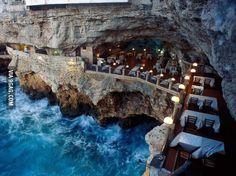 Italian restaurant built into an ocean side grotto.