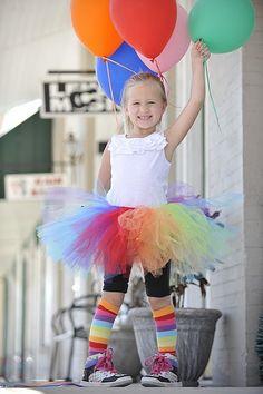 rainbows, tutus, and balloons = happy little girl