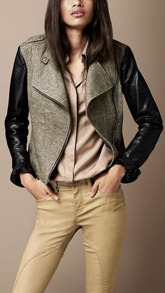 dislike the rear ruffle, but everything else... Burberry - CONTRAST SLEEVE BIKER JACKET