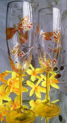 SET of 2 hand painted wedding champagne flutes Dragonflies in yellow and orange color with Swarovski crystals by PaintedGlassBiliana