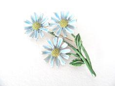 Vintage 1960's ART Blue Enamel Daisy Flower by BroochesTheSubject