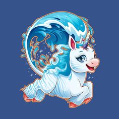 Awesome 'Water+Unicorn' design on TeePublic! Unicorn Fantasy, Unicorn Horse, Horse Drawings, Cute Drawings, Unicorn Pictures, Fantasy Creatures, My Little Pony, Mythology, Mermaid