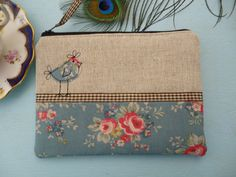 Handmade Shabby Chic Coin Purse Cosmetic Makeup bag, Cath Kidston fabric, Slate Blue Bunch, Hen Chick applique embroidery, Oatmeal Linen