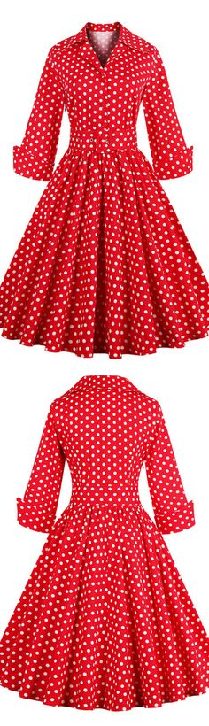Red 50s Vintage Rockabilly Polka Dots Mid-Length Cocktail Party Dress