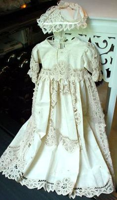 Ecru Lace Doll Christening Gown