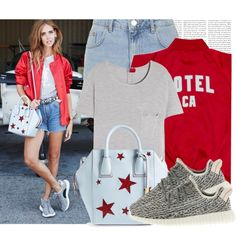 A fashion look from October 2015 featuring Yves Saint Laurent t-shirts, Topshop shorts and adidas sneakers. Browse and shop related looks.