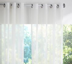 Indoor/Outdoor Sheer Grommet Drape #potterybarn  more modern option with straight panel, no texture, and with grommets.