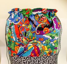 Retro Flower Power Backpack.  Fully lined, and generous sizing.  Perfect for Yoga, Bike Riding, Hiking, Shopping. by CollarRap on Etsy