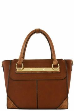 Description - 3 zipper top closure - Textured faux leather and croc leather - Inside lining with open/zip pockets - 18 inch handles & 52 inch adjustable strap - 14 (W) x 5 (D) x 9 (H) inches