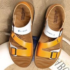 Summer shoes slip-on fashion men sandals leather beathable non-slip beach slippers metal decoration designer mans footwear-Touchy Leather Fashion, Leather Men, Fashion Men, Mens Brown Casual Shoes, Birthday Gifts For Best Friend, Men's Shoes, Shoes Men, Natural Leather, Summer Shoes