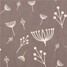 grey flower organic fabric birch USA Twigs 1