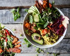 Vitality Veggie Bowls with Curried Cauliflower, Avocado   Tahini - The Chalkboard
