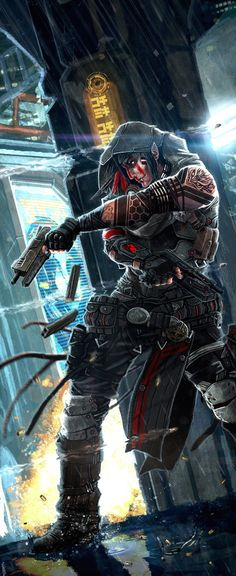 Gunslinger Adept by ~django-red on deviantART, #cyberpunk elf -- could be cool for this #fantasy and #spaceopera setting