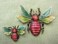 RARE Antique 1930s Signed Walter Lampl Sterling Silver Enamel BUG Beetle pins