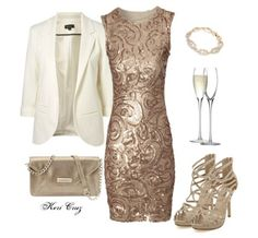 Stunning Gold Sequin Swirl Dress: Christmas Party Outfits