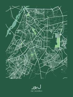 Lahore, Pakistan Map Print