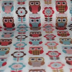 Owls and flowers - Materiale Textile Bumbac - Materiale textile